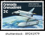 Small photo of GRENADA - CIRCA 1978: A stamp printed in Grenada shows Space Shuttle - External tank jettison, circa 1978