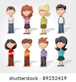 cute happy cartoon kids | Shutterstock .eps vector #89252419