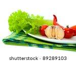 fresh vegetables on white plate ...   Shutterstock . vector #89289103
