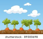 cartoon garden bed with carrots ... | Shutterstock . vector #89300698