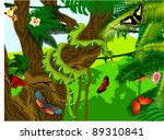 vector jungle with green snake  ... | Shutterstock .eps vector #89310841