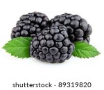 Sweet blackberry with leaves - stock photo