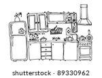 kitchen appliances and utensils | Shutterstock .eps vector #89330962