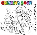 coloring book santa claus theme ... | Shutterstock .eps vector #89332348