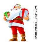 Santa Claus With Gift Vector...
