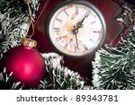 Clock and Christmas background - Christmas is coming conceptual - stock photo
