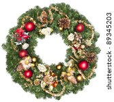 christmas wreath on white... | Shutterstock . vector #89345203
