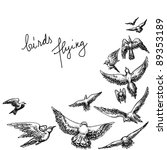 Flying Birds Background  Penci...