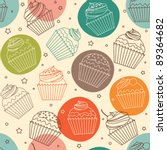 doodle cupcakes pattern | Shutterstock .eps vector #89364682