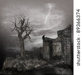 Old Ruin In A Thunderstorm