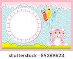 frame with a pink cat for baby... | Shutterstock .eps vector #89369623