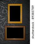 gold frame on black vintage... | Shutterstock . vector #89383789