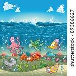 family of marine animals under... | Shutterstock .eps vector #89386627
