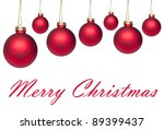 Set of red hanging Christmas balls isolated on white - stock photo