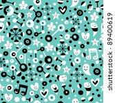 fun cartoon turquoise blue pattern - stock vector