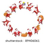 set of funny santa claus | Shutterstock .eps vector #89406061