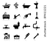 bath,bathroom hardware,black,cleanliness,collection,drips,faucet,fixture,flowing,hose,hygiene,hygienic,icons,illustration,isolated