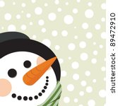 Christmas card with happy snowman - stock vector