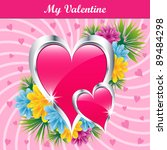 pink love hearts and flowers... | Shutterstock .eps vector #89484298