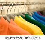 fashion clothing on hangers at... | Shutterstock . vector #89484790