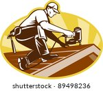 vector illustration of a roofer ... | Shutterstock .eps vector #89498236