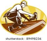 vector illustration of a roofer ...