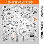 100 everyday signs | Shutterstock .eps vector #89505943