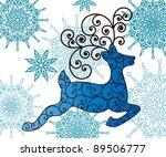 reindeer and snowflakes   Shutterstock .eps vector #89506777