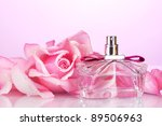 perfume bottle and pink rose on ... | Shutterstock . vector #89506963