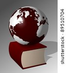 A big red book and Earth sitting on top of it / Earth book - stock photo