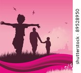 family walking in twilight... | Shutterstock .eps vector #89528950