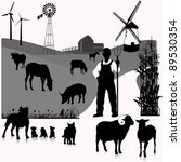 Vector Set Illustration  Farm...