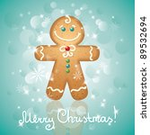 christmas card with a ginger... | Shutterstock .eps vector #89532694