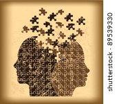 puzzle heads grunge background... | Shutterstock .eps vector #89539330