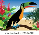 toucan on the beach eps 8... | Shutterstock .eps vector #89566603