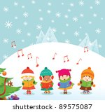 caroler kids | Shutterstock .eps vector #89575087