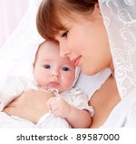 young mother with a charming... | Shutterstock . vector #89587000