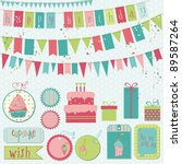 retro birthday celebration... | Shutterstock .eps vector #89587264