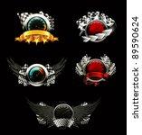set of racing emblems  on black | Shutterstock .eps vector #89590624