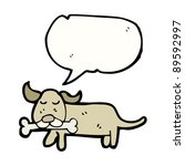 Dog With Bone And Speech Bubble
