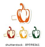 four  sweet peppers in yellow ... | Shutterstock .eps vector #89598361