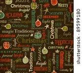 Christmas vintage seamless pattern - stock vector