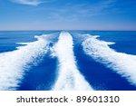 Boat Wake Prop Wash On Blue...