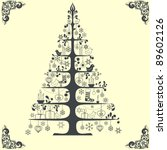 stylized vector christmas tree | Shutterstock .eps vector #89602126