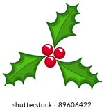 Holly berry Christmas icon - stock vector