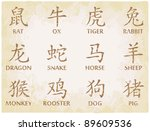 chinese zodiac symbols on worn... | Shutterstock . vector #89609536