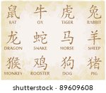 chinese zodiac symbols on worn... | Shutterstock .eps vector #89609608