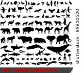 Stock vector vector set of very detailed animal silhouettes 89610520