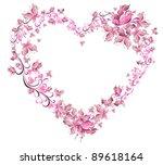 floral love shape. vector heart ...