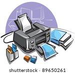 ink jet printer | Shutterstock .eps vector #89650261